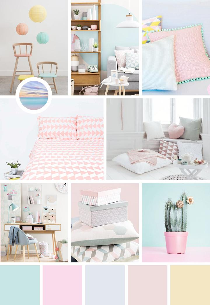 couleurs pastel moodboard et palette. Black Bedroom Furniture Sets. Home Design Ideas