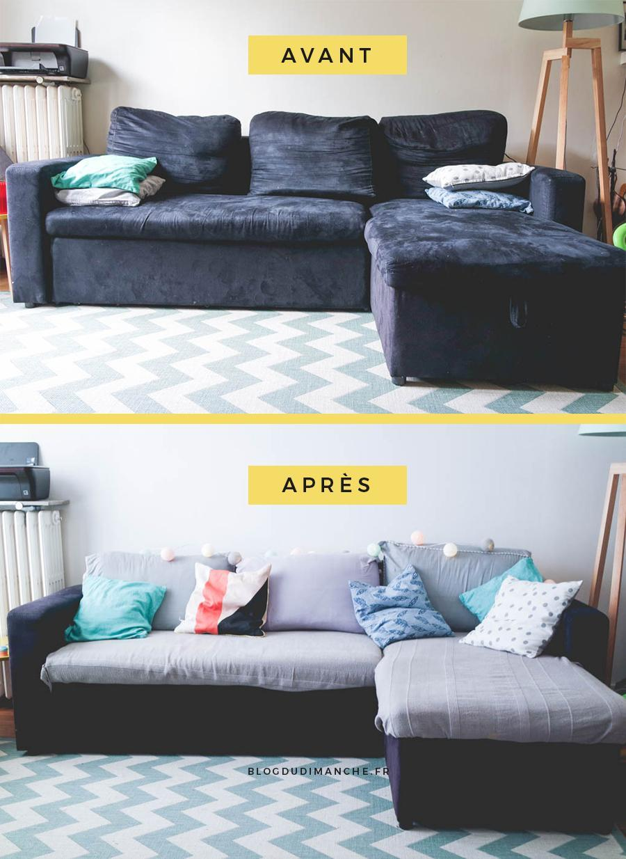 avant apr s le petit relooking de mon canap blog du dimanche. Black Bedroom Furniture Sets. Home Design Ideas