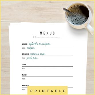 Organiser ses menus de la semaine facilement avec ce printable !