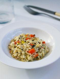 Recette risotto express allégé poireaux carottes champignon cancoillotte