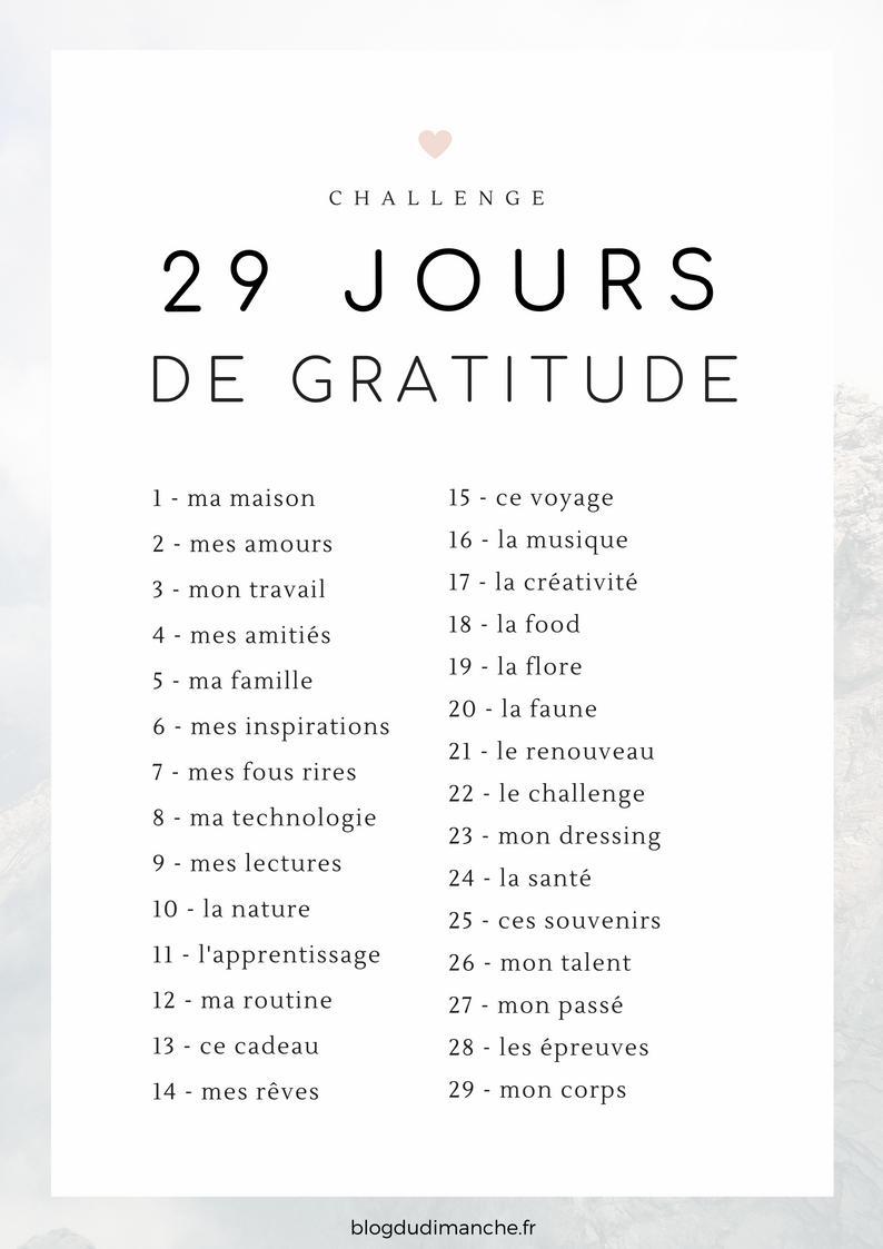 challenge, défi, gratitude, reconnaissante