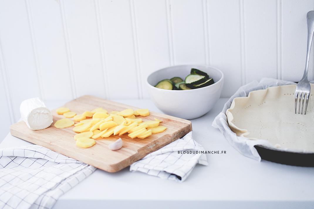 Recette tarte express pommes de terre courgettes chèvre